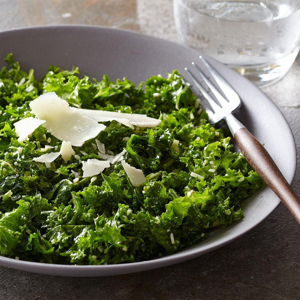 <p>Here a pungent garlicky dressing is infused into kale by massaging the greens and the dressing together with your hands. Any type of kale will work in this kale salad recipe, just remember to remove the tough stems before you start.</p>