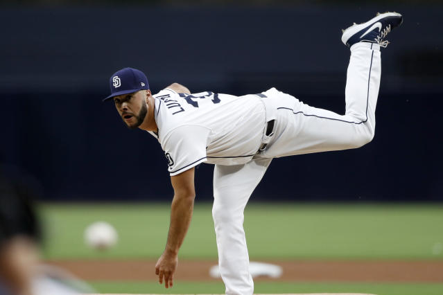 San Diego Padres starting pitcher Joey Lucchesi works against a Milwaukee Brewers batter during the first inning of a baseball game Monday, June 17, 2019, in San Diego. (AP Photo/Gregory Bull)
