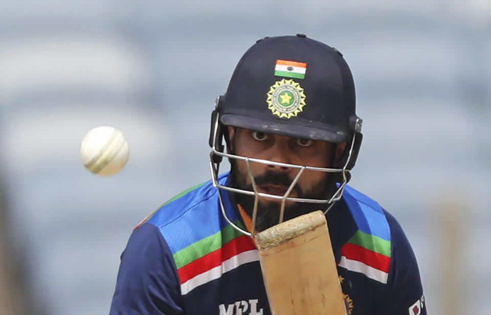 India's Virat Kohli bats during the second one-day international cricket match between India and England in Pune, India, Friday, March 26, 2021. (AP Photo/Rafiq Maqbool)