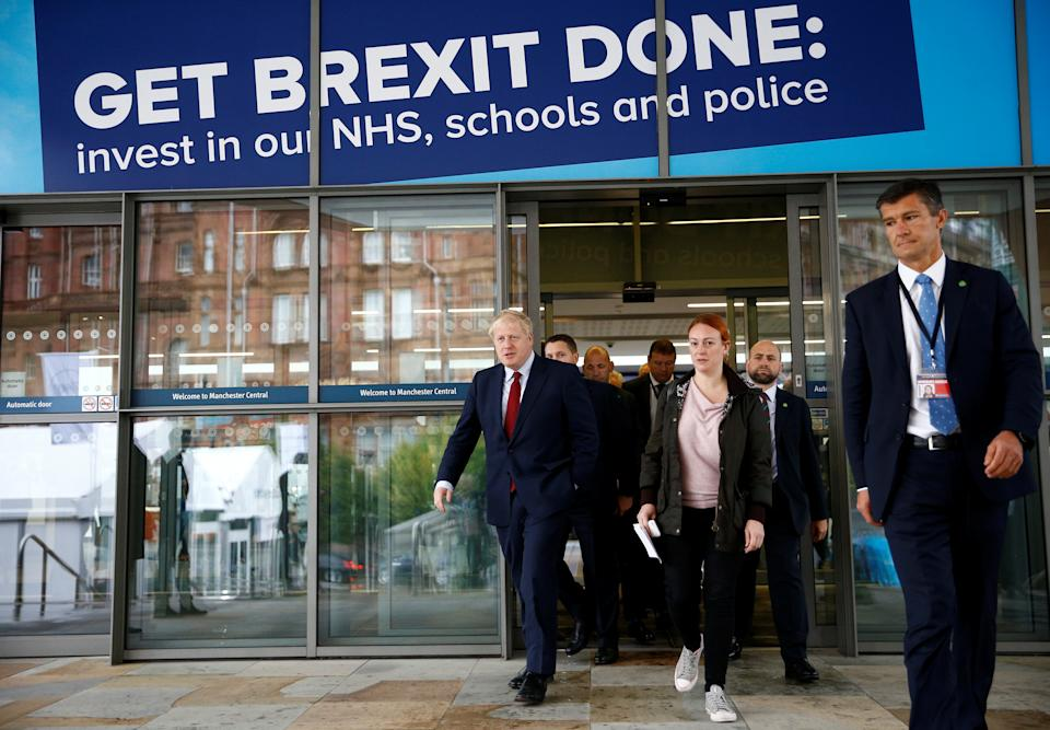 Britain's Prime Minister Boris Johnson is seen outside the venue for the Conservative Party annual conference in Manchester, Britain October 1, 2019.  REUTERS/Henry Nicholls