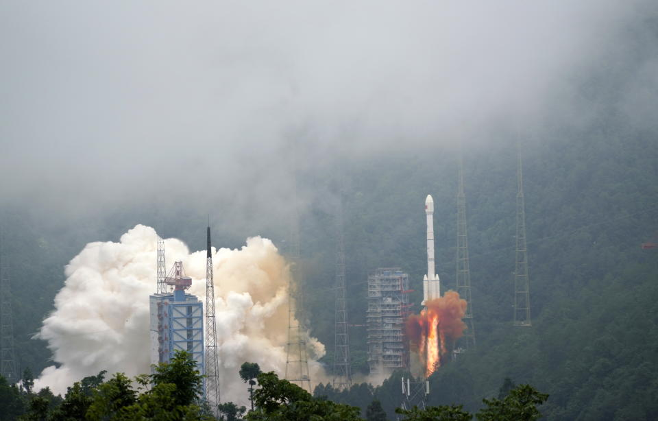 A Long March-3B carrier rocket, carrying the final satellite in the BeiDou-3 Navigation Satellite System, launches from a facility in Xichang. Source: AAP