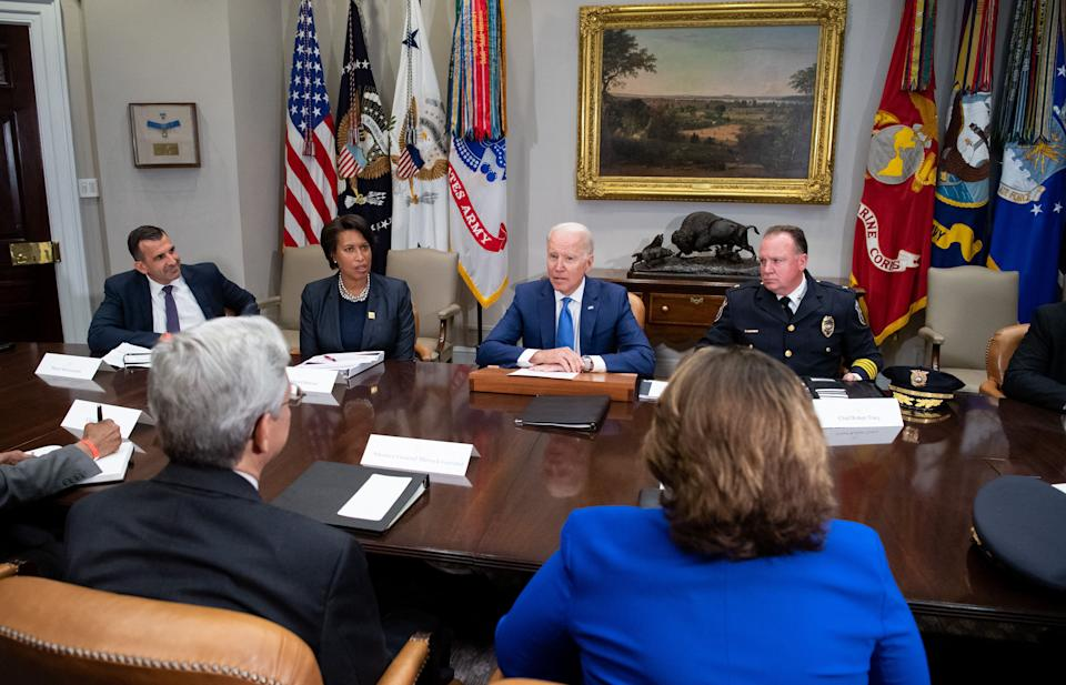 President Joe Biden speaks during a meeting about reducing gun violence with local leaders from around the country, including Washington, DC, Mayor Muriel Bowser (2nd L) and Chief Robert Tracy (R) of the Wilmington Police Department, in the Roosevelt Room of the White House in Washington, DC, July 12, 2021. (Saul Loeb/AFP via Getty Images)
