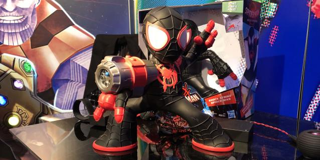<p>More toys for Spidey's first foray into big-screen animation will be unveiled this fall, but Hasbro unveiled an early peek at this Miles Morales figure, which can pivot on a dime to fire projectile web darts. (Photo: Adam Lance Garcia) </p>