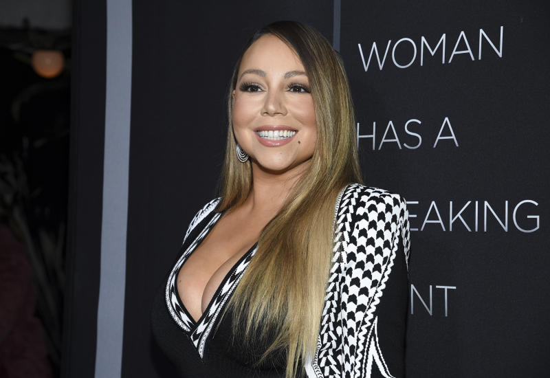 "Singer Mariah Carey attends the premiere of Tyler Perry's ""A Fall from Grace"" at Metrograph on Monday, Jan. 13, 2020, in New York. (Photo by Evan Agostini/Invision/AP)"