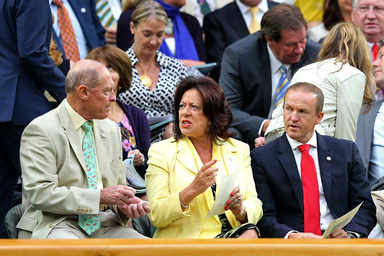 LONDON, ENGLAND - JUNE 28: Geoffrey Boycott (L) and England cricket coach Andy Flower (R) chat in the Royal Box on day five of the Wimbledon Lawn Tennis Championships at the All England Lawn Tennis and Croquet Club on June 28, 2013 in London, England. (Photo by Julian Finney/Getty Images)
