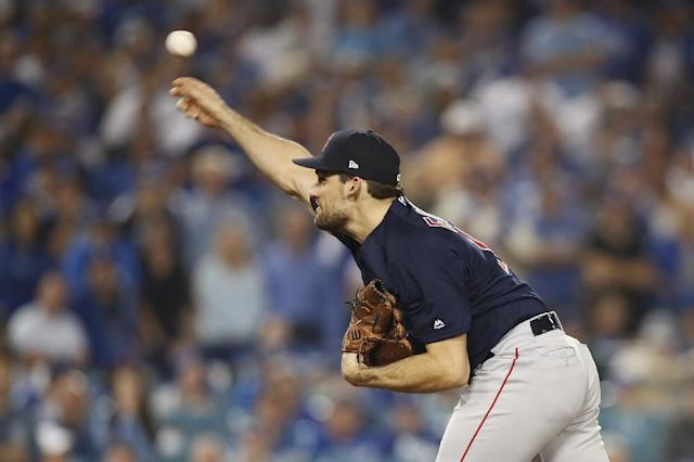 Red Sox pitcher Nathan Eovaldi produced a performance for the ages in a losing effort against the Los Angeles Dodgers in game three of the 2018 World Series (AFP Photo/EZRA SHAW)