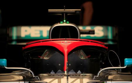 Formula One F1 - Monaco Grand Prix - Circuit de Monaco, Monte Carlo, Monaco - May 25, 2019   General view of the car of Mercedes' Lewis Hamilton in the garage during qualifying   REUTERS/Gonzalo Fuentes