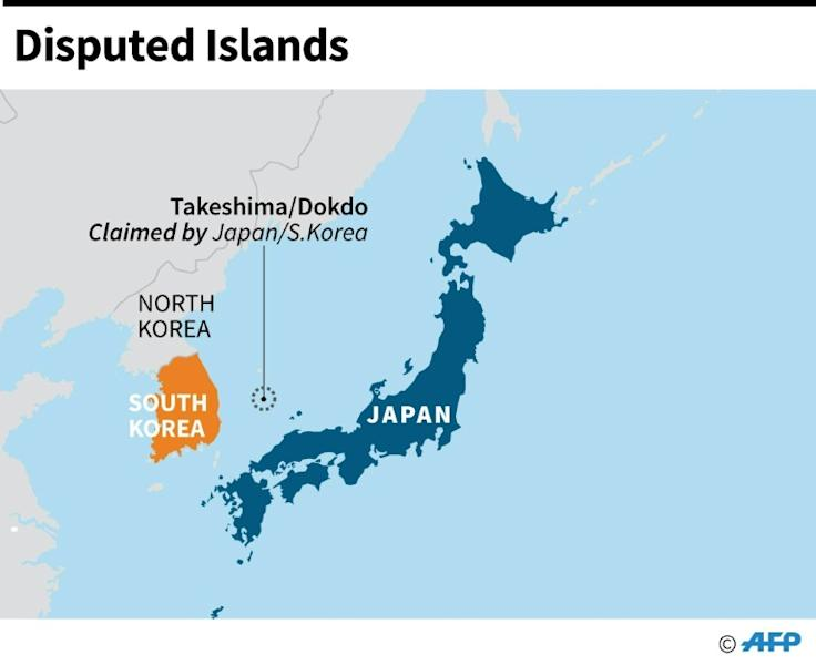 Map showing Takeshima/Dokdo claimed by Japan and South Korea