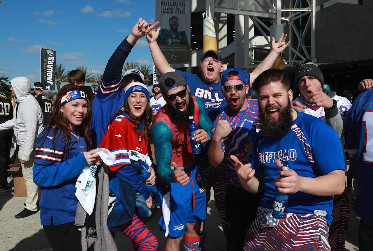 <p>Buffalo Bills fans are seen outside the stadium before the start of their AFC Wild Card playoff game against the Jacksonville Jaguars at EverBank Field on January 7, 2018 in Jacksonville, Florida. (Photo by Scott Halleran/Getty Images) </p>