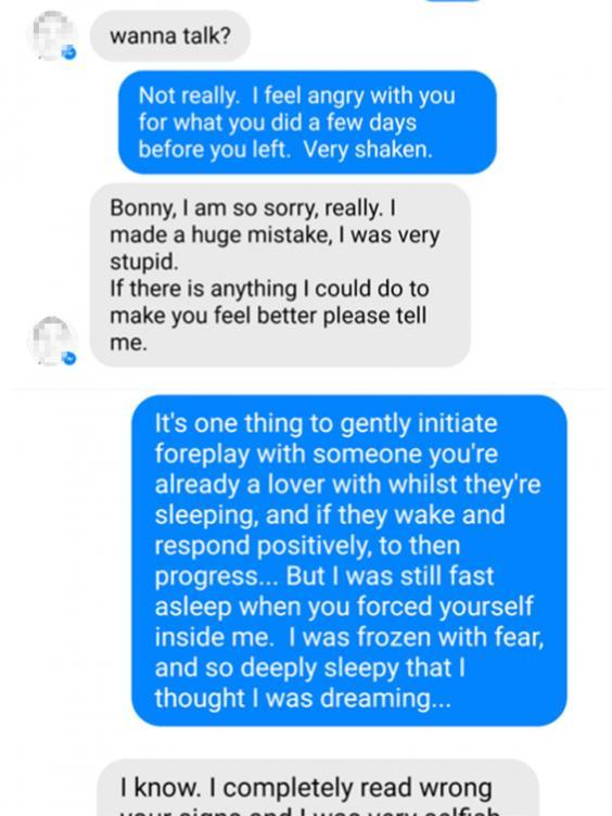 Facebook messages between Bonny Turner and a man she accused of raping her while she slept