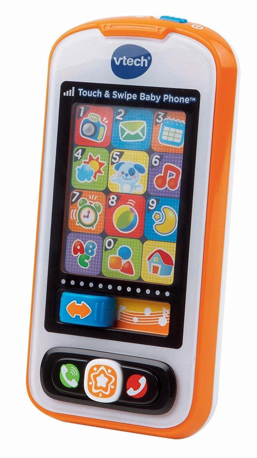 <p>This <span>VTech Touch and Swipe Baby Phone</span> ($15) includes 12 light-up pretend apps including a calendar, a clock, and the weather. This toy helps with hand-eye coordination. </p>