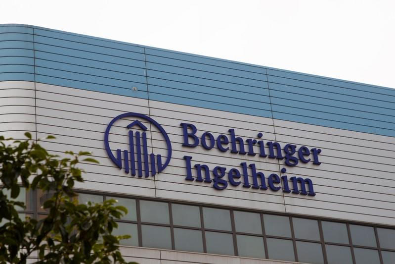 FILE PHOTO: The logo of German pharmaceutical company Boehringer Ingelheim is seen at its building in Shanghai