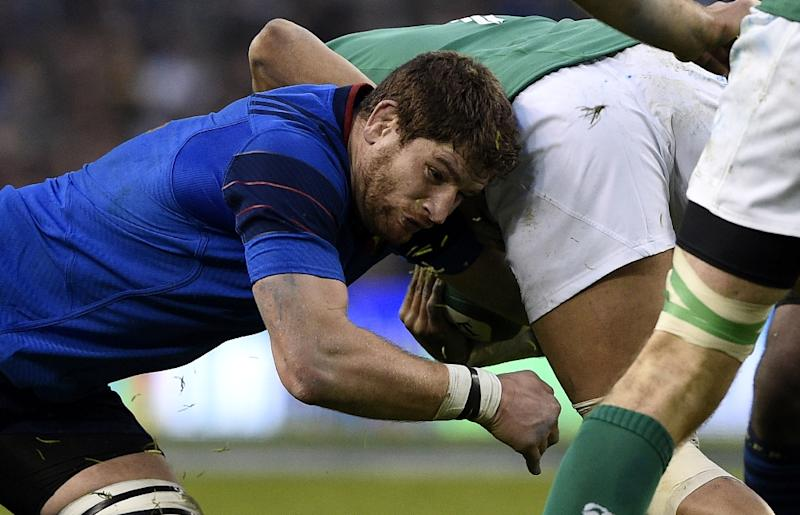 France's lock Pascal Pape (L) battles during the Six Nations international rugby union match between Ireland and France in Dublin, Ireland on February 14, 2015