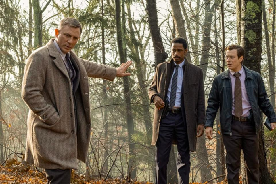 Daniel Craig, LaKeith Stanfield, and Noah Segan in Knives Out