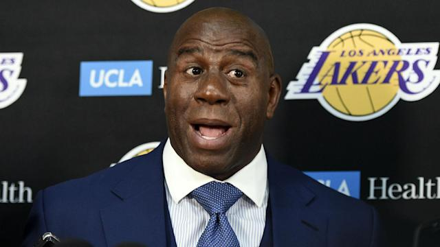 "Los Angeles Lakers president Magic Johnson says LeBron James will be consulted on Lakers personnel moves ""just like when I was playing."""