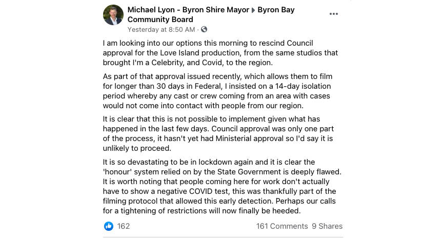Byron Mayor Michael took to Facebook to declare his intentions to revoke approval, sparking a heated community debate about authorised workers. Source: Facebook
