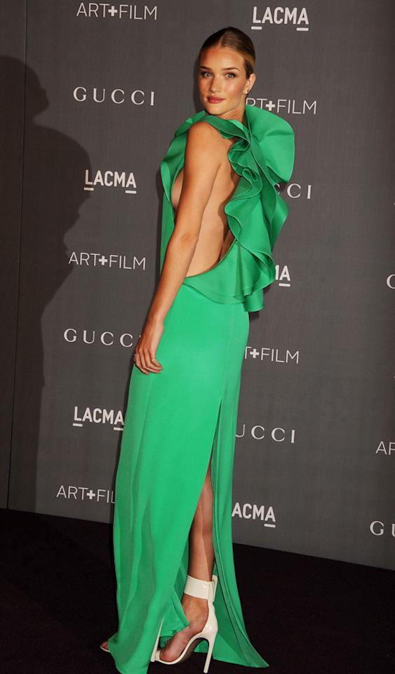 LOS ANGELES, CA - OCTOBER 27: Actress/Model Rosie Huntington-Whiteley arrives at LACMA Art   Film Gala at LACMA on October 27, 2012 in Los Angeles, California. (Photo by Jeffrey Mayer/WireImage)