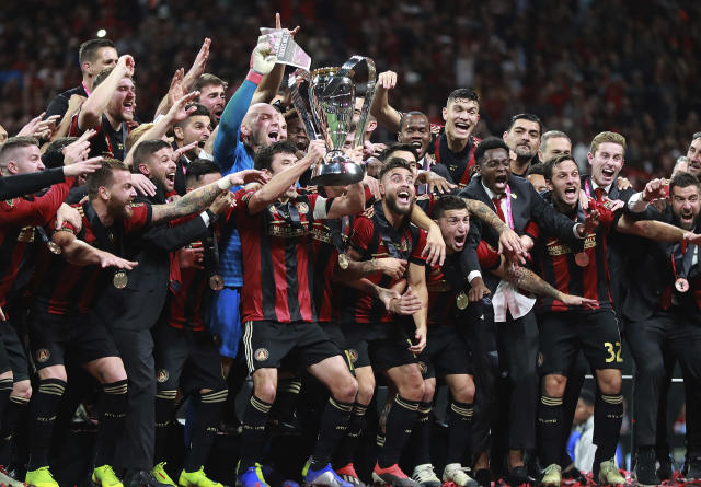Atlanta United celebrates winning the MLS Cup championship soccer game 2-0 over the Portland Timbers, Saturday, Dec. 8, 2018, in Atlanta. (Curtis Compton/Atlanta Journal-Constitution via AP)