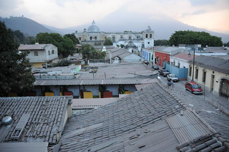 Ashes from the Fuego volcano are seen covering the streets of Antigua Guatemala, Sacatepequez departamento, 45 km southwest of Guatemala City on Febrary 7, 2015