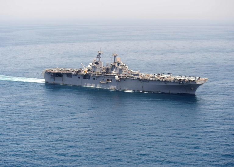 President Donald Trump said the amphibious assault ship USS Boxer, seen here in a 2016 file picture, had destroyed an Iranian drone -- and Tehran denies it
