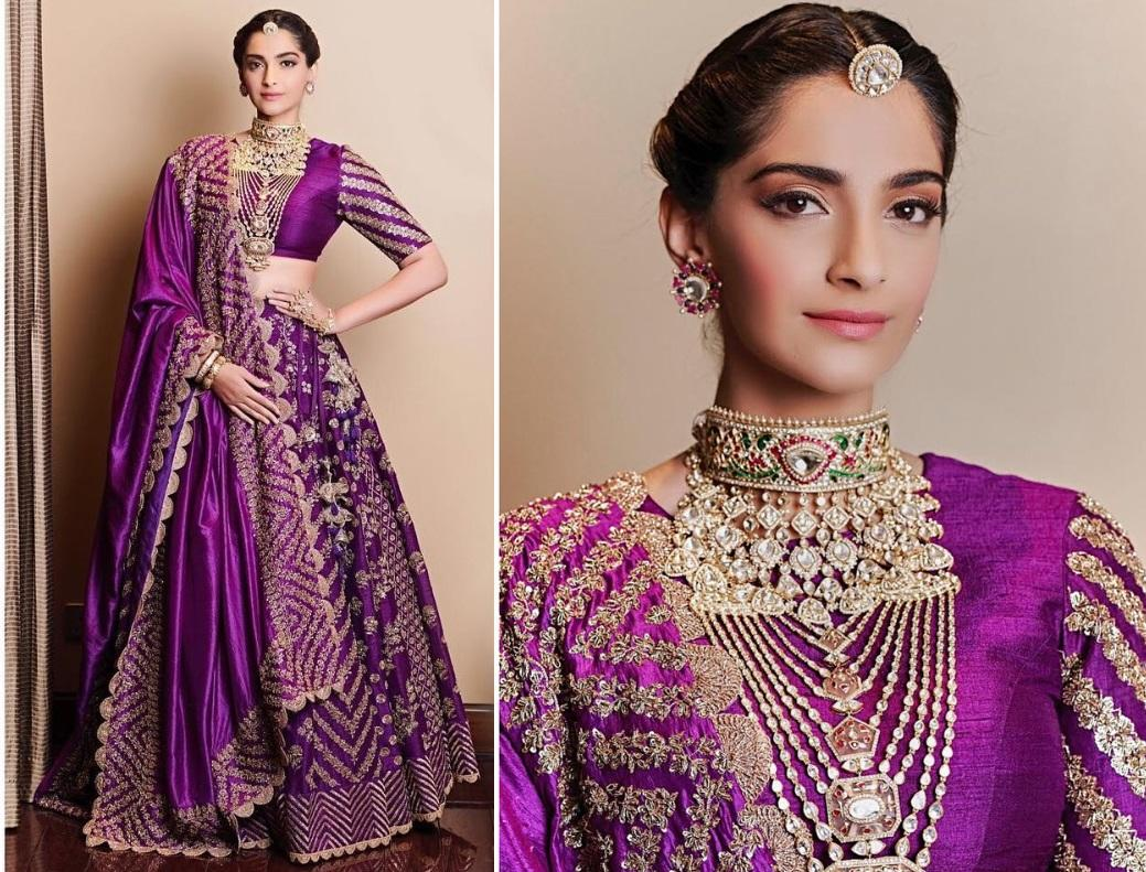 <p>One cannot talk about fashion in India without mentioning Sonam Kapoor. She slays in western outfits, and in Indian traditional wear with equal panache. The actress wore this rich purple dress to walk the ramp for a jewelry brand she endorses. Not only did she look regal in this Jayanti Reddy Label ensemble but brought back the memories of Nisha from <em>Hum Apke Hain Koun.</em> </p>