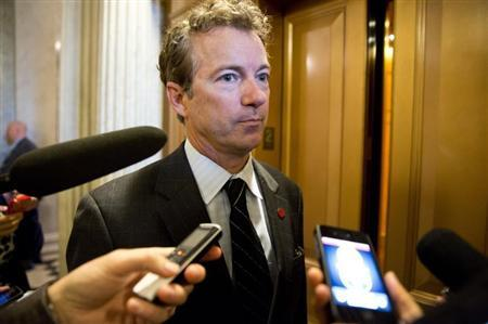 Senator Rand Paul (R-KY) speaks to reporters during the 14th day of the partial government shut down