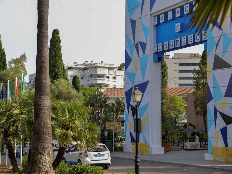 General view near the spot where a British man died after reportedly falling from a hotel balcony in Marbella, killing a Spaniard on the terrace below, 11 July 2020: Antonio Paz/EPA