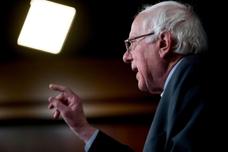 In this Jan. 30, 2019, photo, Sen. Bernie Sanders, I-Vt., speaks on Capitol Hill in Washington. Sanders on Thursday released a plan to significantly hike taxes on the wealthiest 0.2 percent of Americans, the latest in a series of proposals from Democratic presidential contenders to combat income inequality by shifting tax burdens to the upper class.
