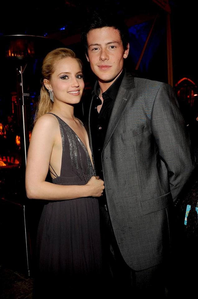 """<a href=""""/dianna-agron/contributor/2227281"""">Dianna Agron</a> (""""Quinn Fabray"""") and <a href=""""/cory-monteith/contributor/1286853"""">Cory Monteith</a> (""""Finn Hudson"""") arrive at Fox's <a href=""""/glee/show/44113"""">""""Glee""""</a> Spring Premiere Soiree at Chateau Marmont on April 12, 2010 in Los Angeles, California."""