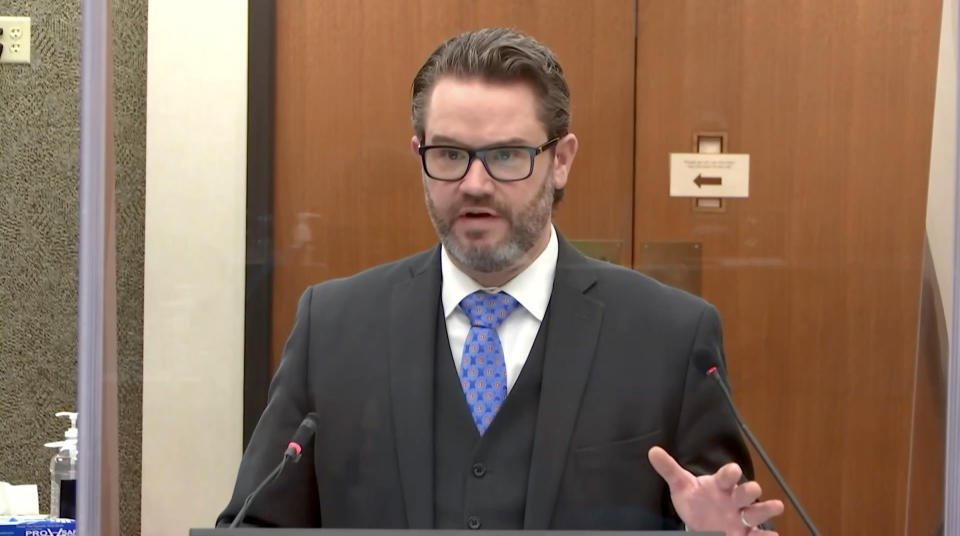 Defense attorney Eric Nelson questions a witness during the trial of Derek Chauvin on April 14, 2021. (Court TV via Reuters Video)