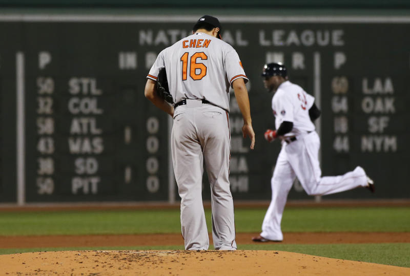 Baltimore Orioles starting pitcher Wei-Yin Chen (16) stands on the mound as Boston Red Sox designated hitter David Ortiz rounds the bases with a two-run home run in the first inning of a baseball game at Fenway Park in Boston, Wednesday, Sept. 18, 2013. (AP Photo/Elise Amendola)