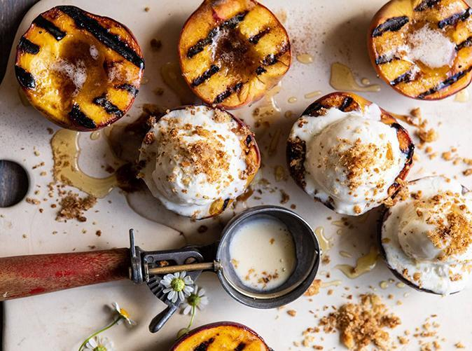 """<p>Hello, gorgeous. Substitute nectarines or plums if that's what you have. </p> <p><a class=""""link rapid-noclick-resp"""" href=""""https://www.halfbakedharvest.com/browned-butter-grilled-peaches/"""" rel=""""nofollow noopener"""" target=""""_blank"""" data-ylk=""""slk:Get the recipe"""">Get the recipe</a></p>"""