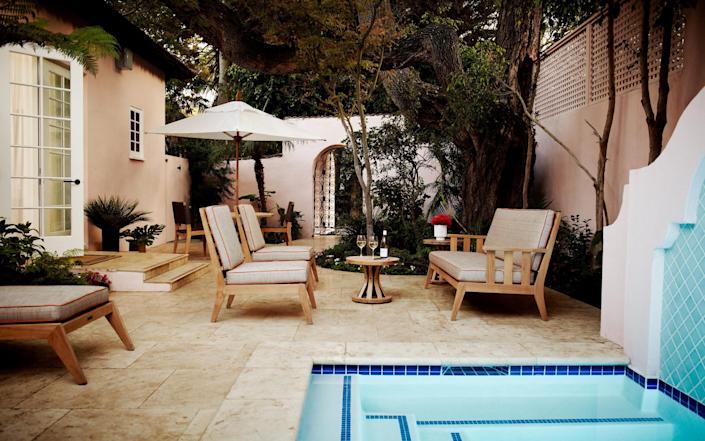 The patio of Grace Kelly's Suite at the Bel-Air