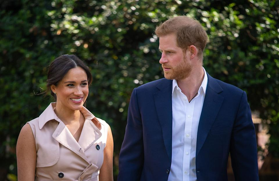 The Duke and Duchess of Sussex attend a creative industries and business reception at the British High Commissioner's residence in Johannesburg, South Africa, on day 10 of their tour of Africa. PA Photo. Picture date: Monday September 23, 2019. See PA story ROYAL Tour. Photo credit should read: Dominic Lipinski/PA Wire