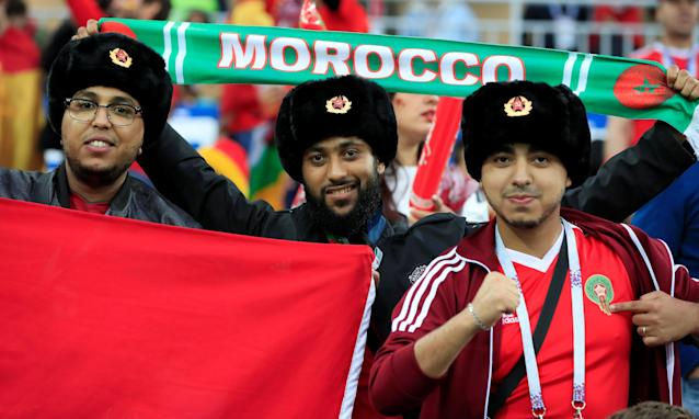 Soccer Football - World Cup - Group B - Spain vs Morocco - Kaliningrad Stadium, Kaliningrad, Russia - June 25, 2018 Morocco fans inside the stadium before the match REUTERS/Gonzalo Fuentes