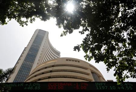 The Bombay Stock Exchange building is seen from a facade in Mumbai