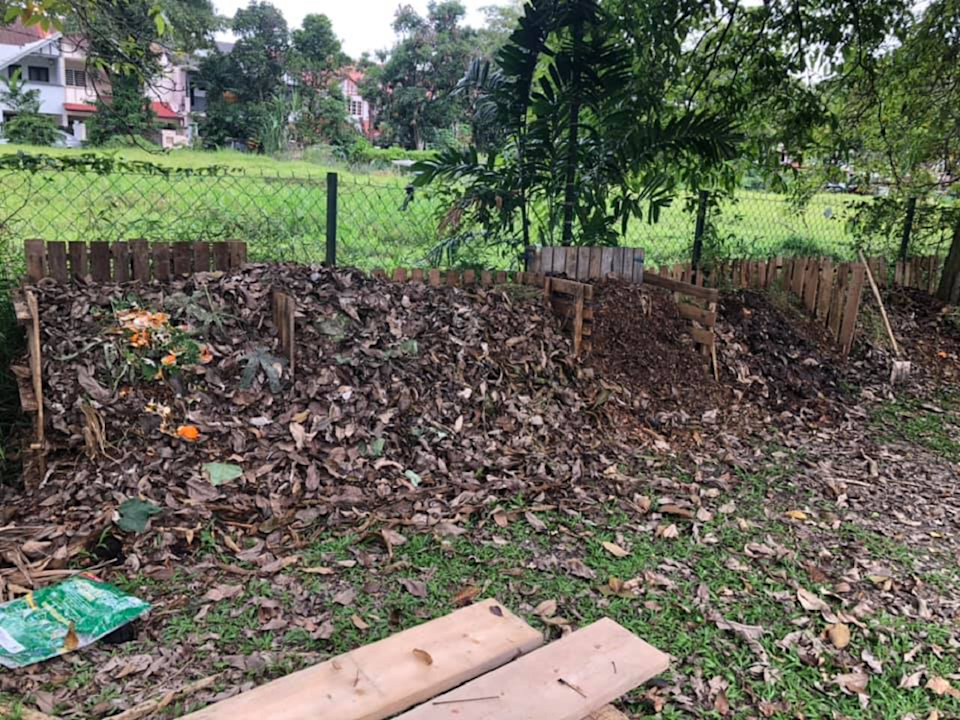 The compost pile at USJ 16 in Subang Jaya. Starting with one pile, now there are five piles. ― Picture courtesy of Samantha Lai