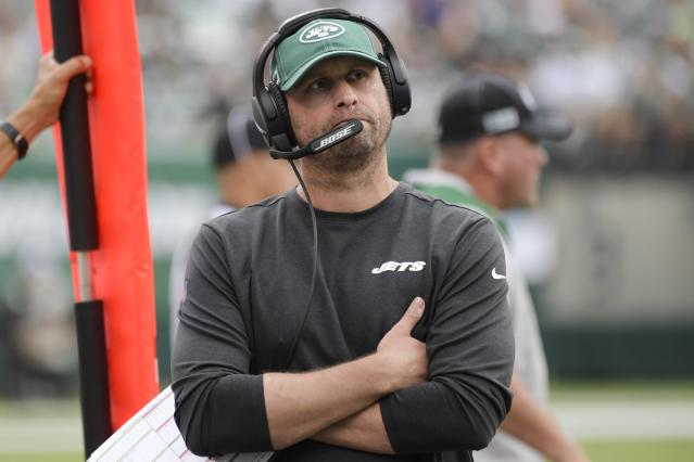 New York Jets head coach Adam Gase looks at the scoreboard during the second half of an NFL football game against the Buffalo Bills Sunday, Sept. 8, 2019, in East Rutherford, N.J. (AP Photo/Bill Kostroun)
