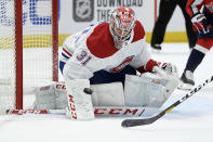 Montreal Canadiens goaltender Carey Price (31) defends the net during the first period of an NHL hockey game against the Washington Capitals, Friday, Nov. 15, 2019, in Washington. (AP Photo/Nick Wass)