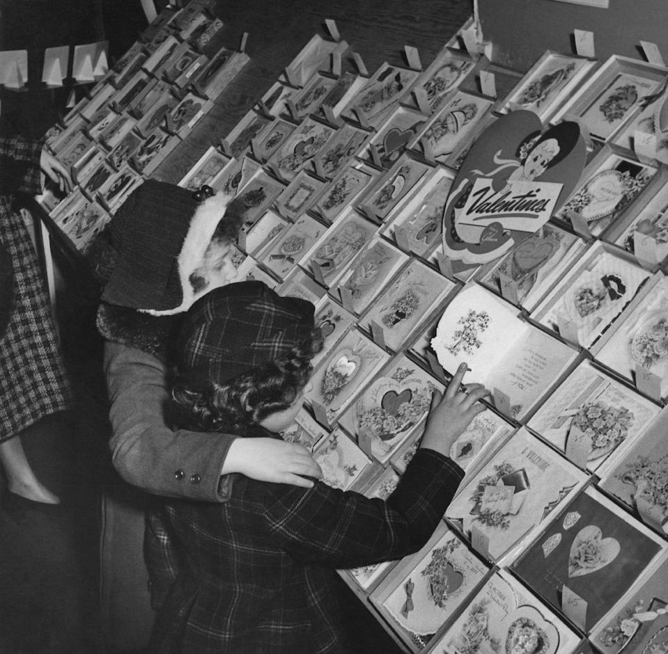 <p>In the mid-50s, little girls shop for the perfect Valentine's Day greeting cards. </p>
