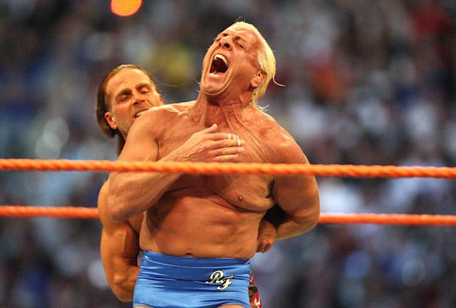 <p>Ric Flair (front) and Shawn Michaels wrestle in the Career Threatening Match at WrestleMania XXIV at the Citrus Bowl on Sunday, March 30, 2008, in Orlando, Florida. (Jacob Langston/Orlando Sentinel/MCT) </p>