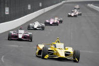 Scott McLaughlin, of New Zealand, drives during the final practice session for the Indianapolis 500 auto race at Indianapolis Motor Speedway, Friday, May 28, 2021, in Indianapolis. (AP Photo/Darron Cummings)