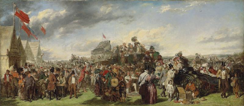 """In this image made available by Christie's London of """"Derby Day"""" by William Powell Frith.  The Victorian painting that hung in a family's unlocked New England beach house for half a century could fetch 500,000 pounds ($800,000) when it is sold next month, Christie's auction house said Tuesday Nov. 15, 2011. """"Derby Day"""" is an early version of one of the era's most famous paintings  William Powell Frith's teeming, picaresque image of the crowds at an 1850s horse race, from a rich family in their carriage to a prostitute and a fortune teller. (AP Photo/Christie's)  EDITORIAL USE ONLY"""