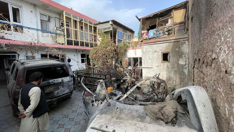 A view of the damage at Zemerai Ahmadi's family house after a drone strike one day before the final U.S. evacuation flights from Kabul, Afghanistan. Ahmadi and nine members of his family, including seven children, were reported killed in the airstrike on August 29, 2021. / Credit: Haroon Sabawoon/Anadolu Agency via Getty Images