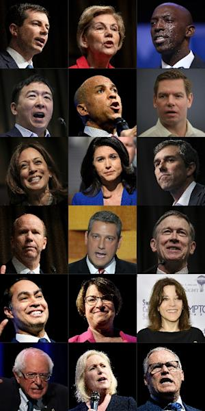 Eighteen of the 20 candidates in the running for the 2020 Democratic presidential nomination, a generally diverse and youthful group led by two 70-something white men (AFP Photo/Don Emmert, JOE RAEDLE, Drew Angerer, Brendan Smialowski, SCOTT OLSON, Eric BARADAT, ALEX WONG, Eugene Gologursky, MARK WILSON)