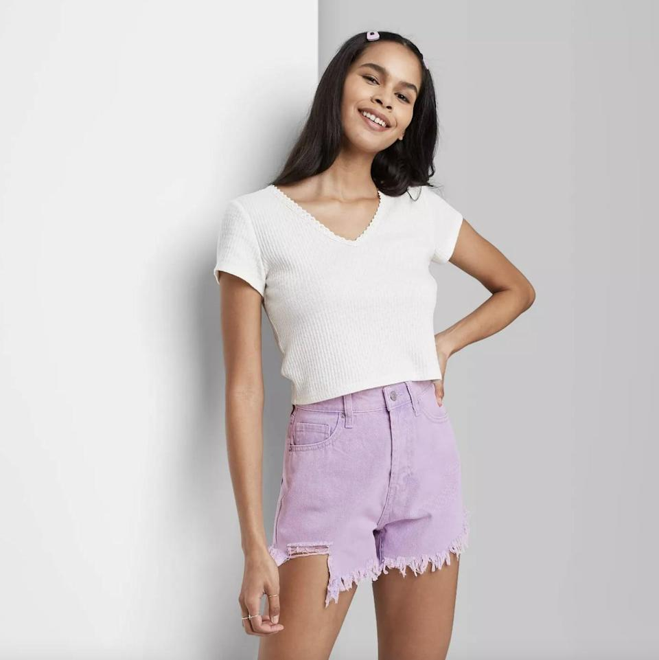 <p>Style these <span>Wild Fable High-Rise Frayed Hem Jean Shorts</span> ($19) with your favorite tee for a relaxed look.</p>