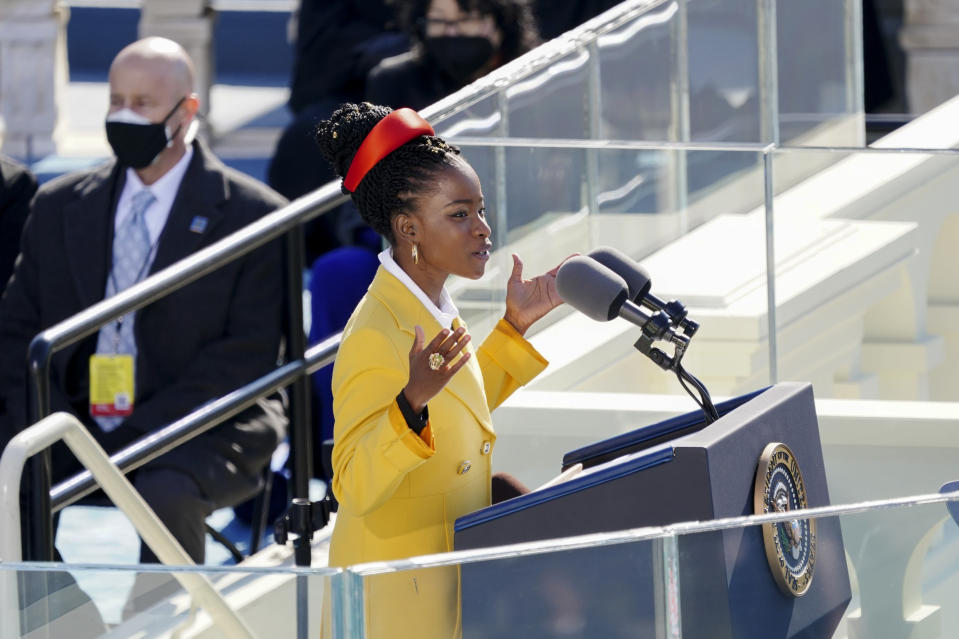 American poet Amanda Gorman reads a poem during the 59th Presidential Inauguration at the U.S. Capitol in Washington, Wednesday, Jan. 20, 2021. (Kevin Dietsch/Pool Photo via AP)