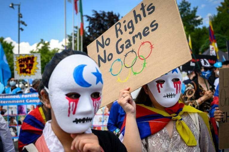 Tibetan and Uyghur protesters call for a boycott of the 2022 Winter Olympics in Beijing