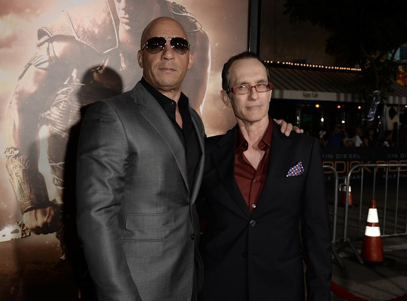 "Vin Diesel and David Twohy attend the premiere of ""Riddick"" on August 28, 2013. (Photo by Kevin Winter/Getty Images)"