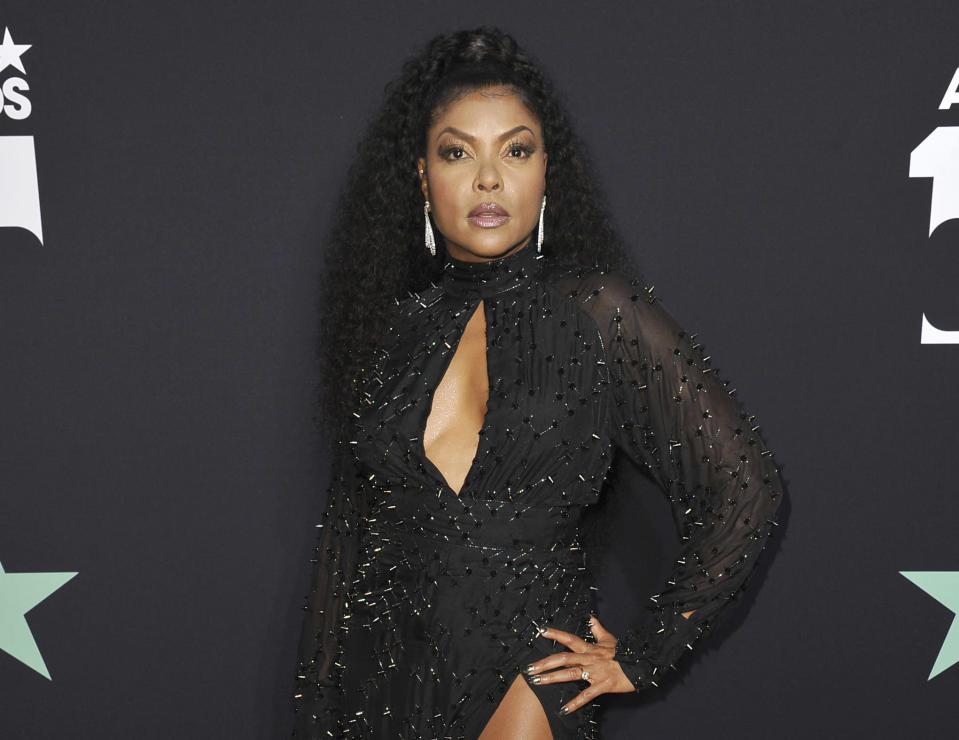 FILE - Taraji P. Henson poses in the press room at the BET Awards on Sunday, June 23, 2019, in Los Angeles. Henson will host Sunday's BET Awards. (Photo by Richard Shotwell/Invision/AP, File)